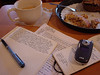 Peace and quiet (renmeleon) Tags: nanowrimo moleskine writing journal reporter novel scone latte ria panera cahier renmeleon renfolio