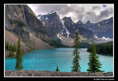 Moraine Lake (Marcel Cavelti) Tags: blue lake canada mountains rockies alberta northamerica banff rockymountains wilderness lakelouise hdr morainelake banffnp theperfectphotographer