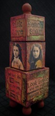 Collage Art Blocks (HealingExpressions) Tags: art love girl collage altered mixed media risk assemblage puzzle blocks reach inspirational soar vintag