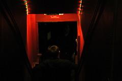 Descent (Lady Vervaine) Tags: door uk red england man black lynch male london stairs dark weird scary darkness britain masculine hell descent entrance hellish down creepy doorway gateway below nightmare underworld beneath entry lynchian descending davidlynch nightmarish
