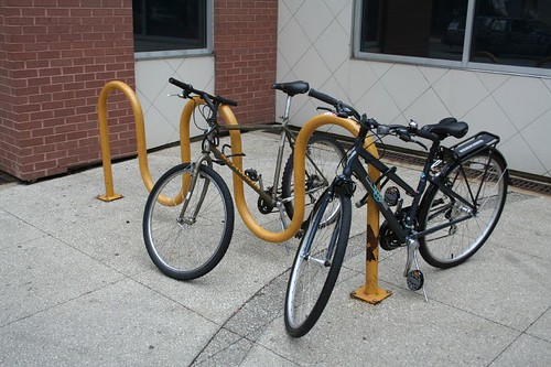 Bike racks at the Grand Avenue Mall