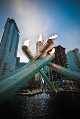 The Olympic Cauldron is lit! (Carol Browne) Tags: vancouver downtown earlyriser olympiccauldron jackpooleplaza