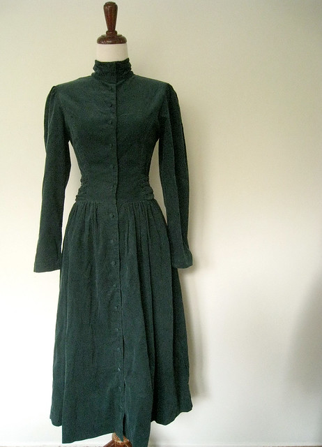 Victorian-Inspired Pine Green Corduroy Dress, Vintage 80's