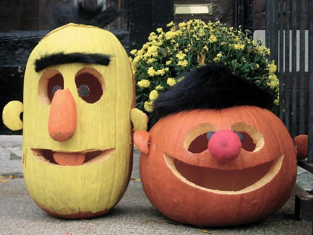 Bert & Ernie ~ Porch Pumpkins 2009