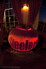 Pittsburgh pumpkin (possessed2fisheye) Tags: halloween pumpkin carve fisheye gosteelers carvedpumpkin pittsburghsteelers thesteelers lookwhatimade fullframefisheye optika65mmfullframefisheye letterscarvedinpumpkin litepumpkin