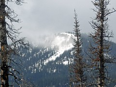 Wind blowing snow off a nearby peak. The winds would pickup at times with a cool chill to them.