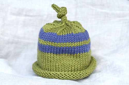 Pattern  Umbilical Cord Hat by Jennifer L. Jones in Debbie Stoller s Stitch  and Bitch. Yarn  Debbie Bliss Baby Cashmerino 8d722fcb1f8f