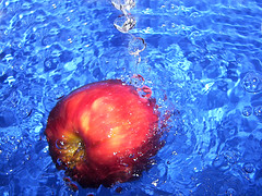 apple (aycasan) Tags: blue red macro apple water colors fruit turkey drops trkiye su turkei damla meyve elme anawesomeshot aplusphoto