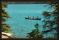 Canoeing on Moraine Lake (melmark44) Tags: lake canada reflections canoes alberta banff canoeing banffnationalpark glacial morainelake tourquoise glaciallake rockflour southjerseyphotographygroup melmarkowitz