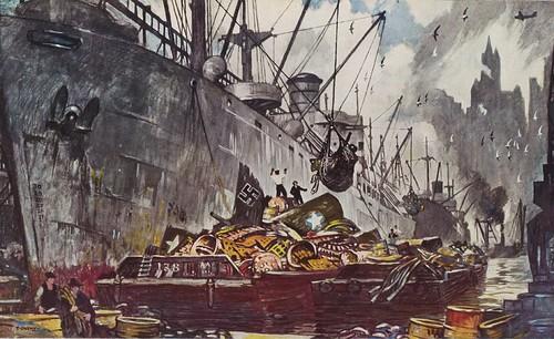 history illustration painting harbor dock ship propaganda nazi vessel cargo worldwarii booty transportation barge 1943 nationalgeographic cargoship scrapiron merchantshipping thorntonoakley