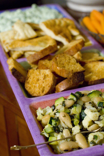 White Bean and Veg Crostini and Spinach Dip