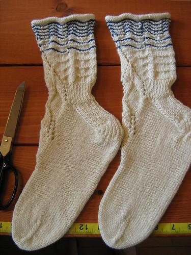 Milkmaid's stockings, freshly blocked