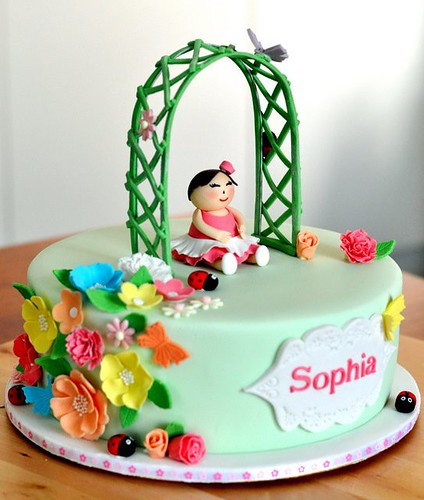 Sophia's 1 month celebration Cake - Spring Theme