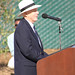 Bud Bottoms, artist, speaking at Dolphin Fountain Dedication