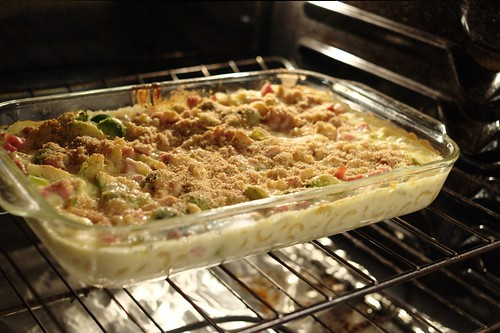 Mac & Cheese with Brussels Sprouts & Ham