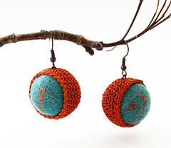 Terracotta crocheted earrings in a form of balls (Julia Kolbaskina) Tags: green wool felted ball knitting handmade terracotta crochet craft jewelry felt jewellery earrings knitted crocheted earrigns