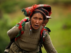 Breathless woman carrying her child in Shangri La, Yunnan, China (Eric Lafforgue) Tags: china baby asia chinese mother tibet 300mm hasselblad explore tibetan asie  kina chin cina chine xina   peoplesrepublicofchina  zhongguo tiongkok  chiny  kna in h3d 7754 lafforgue  ericlafforgue abigfave  trungquc travelerphotos na   kitajska tsina  wwwericlafforguecom