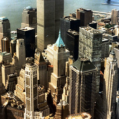NY twin towers 1997 (Frizztext) Tags: 2001 newyork history square twins community scanner manhattan worldtradecenter flight helicopter scanned 1997 twintowers past shoebox birdsview blastfromthepast 500x500 septembereleven frizztext aplusphoto superbmasterpiece