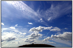 Peak District.  North of Bakewell. (Waka Jawaka) Tags: blue camp sky clouds distorted district july peak 2007 bradwell