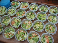 Salad in small tupperware containers