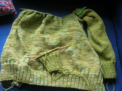 Emerald: Body and one arm done. (eclectic Jessie) Tags: sweater yarn raglan emerald knitty knittycom handdyed cascadeecowool