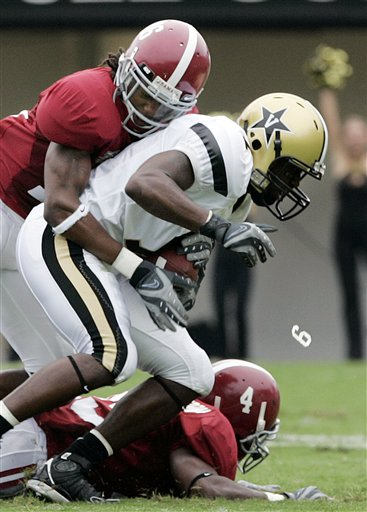 83f0390df One classic came during a Vanderbilt/Alabama game in 2007, when 'Bama  linebacker Rashad Johnson had one of his helmet numerals go airborne — a  moment that ...