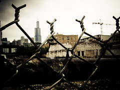 (untitled) (phule) Tags: chicago macro fence construction gbrearview decay searstower demolition a80 westloop transitions explore34 explore22 explore17