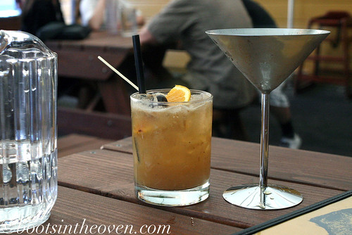 Tamarind Whiskey Sour and a 96 Tears (coconut-pandanus drinking vinegar, pimms)