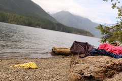 Skinny Dip (Mirrah Mineola) Tags: lake mountains beach water swimming washington risque skinnydipping bras lakecushman
