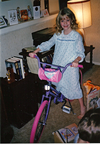 on bike Christmas morning 1986