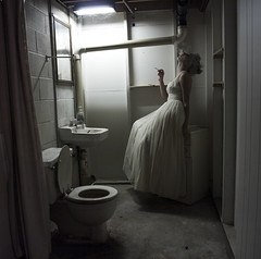 (Miranda Skelley) Tags: bathroom dress cigarette formal dirty dirt gross spiderwebs ick cigs