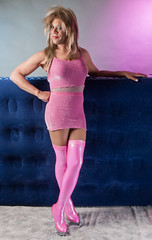 Pink and More PINK! (kaceycd) Tags: highheels boots tgirl miniskirt pantyhose crossdress spandex lycra lurex tg camisole kinkyboots platformboots stilettoboots sexyboots stockingboots