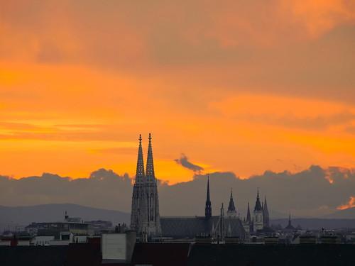 Dramatic Sky over Vienna's Votivkirche
