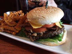 The Steak Burger with vegan cheese & tempeh bacon from Red Bamboo