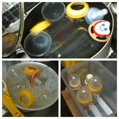 哺乳瓶の煮沸、乾燥、格納