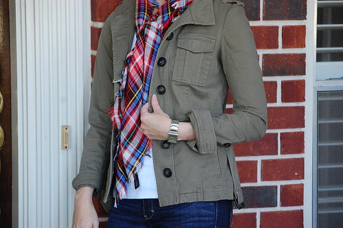OOTD Military jacket plaid scarf