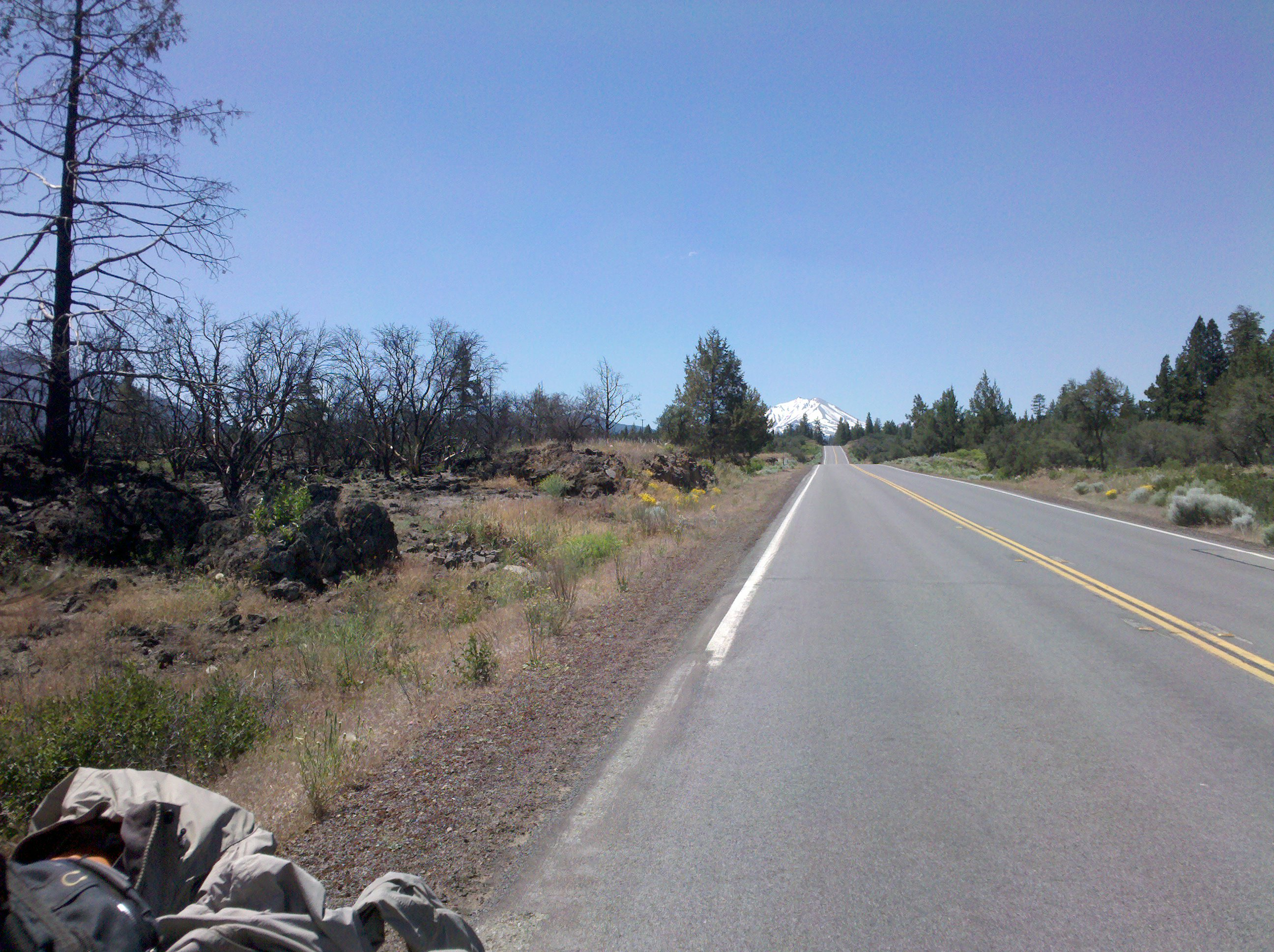 Mount Lassen in the background, while heading northward on State Route 89