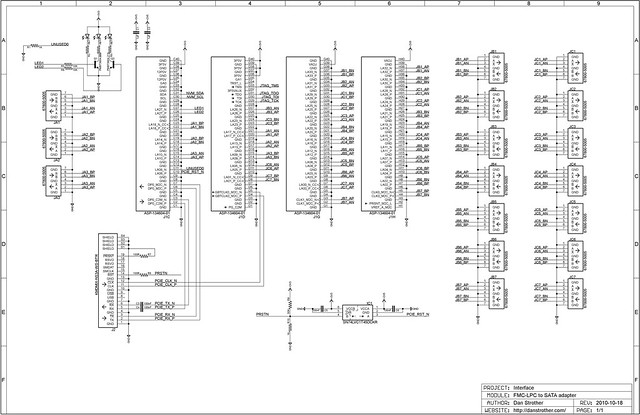 FMC-LPC to SATA adapter board - schematic