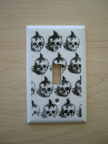 Iron-On Transfer Switch Plate -- Skulls (close up)