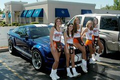 My Shelby at Hooters in Milwaukee (Shelby Mustang GT) Tags: 2005 girls sexy ford nikon shimmery stripes wheels hooters nikond100 posing pony milwaukee shelby tanktop shorts mustang d100 20 brunette gt dslr satin hotgirls pantyhose nylon v8 spandex lycra mustangs 46 2005mustang blondegirl 5000views hootergirl hootergirls shelbygt