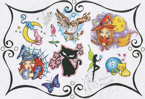 Serie Tatoo (saferps) Tags: tattoo gato coruja lua pinup gatinho bruxa fada