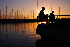 Early Morning Coffee Before a Sail (rivadock4) Tags: silhouette sunrise sailing soe westriver galesville canonxti diamondclassphotographer canons1022