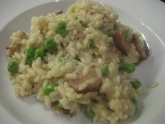 Bacon pea risotto