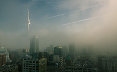 Disappearing city 2 (tomms) Tags: urban cloud toronto ontario canada fog skyline hotel haze carlton cntower foggy explore ritz frontpage fogto