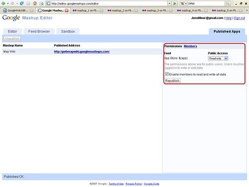 Mashup Editor Map Wiki Veröffentlichung