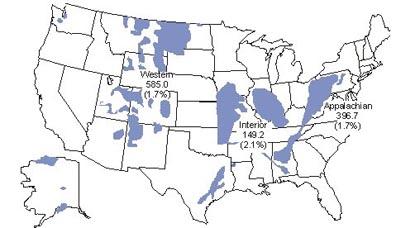 The Oil Drum Coal Reserves And Resources A Gentle Cough - Map of coal deposits in the us