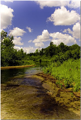 Streams (lookin glass) Tags: trees summer vacation sky color green nature water field minnesota clouds river landscape outside outdoors gold sand scenery stream warm view country north scenic lookinglass nikond80 kabekonalake