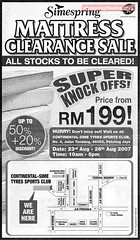 23 - 26 Aug : Simespring Mattress Clearance Sale