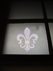 Our Fleur de Lis Frosted Bathroom Window: The Sky in Shreveport Two Years After Hurricane Katrina