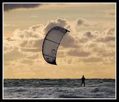 Kite surfer at sunset (Levels Nature) Tags: uk sunset sea england kite man nature sport clouds surf waves surfer devon woolacombe kitesurfer northdevon mywinners